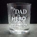 My Dad Crystal Whisky Glass, PERSONALISED, ref MDMHW